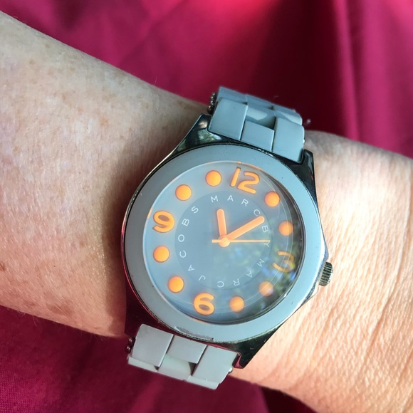 Marc Jacobs Wristwatch Grey And Orange Rubber